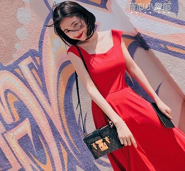 新款夏季復古無袖吊帶高腰氣質優雅連身裙中長款小黑裙女