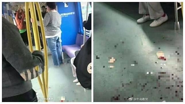 大連地鐵發生濺血事件,一名男子因為讓座給一名婦人,竟遭自己的妻子和岳父毆打。(圖/翻攝自微博)