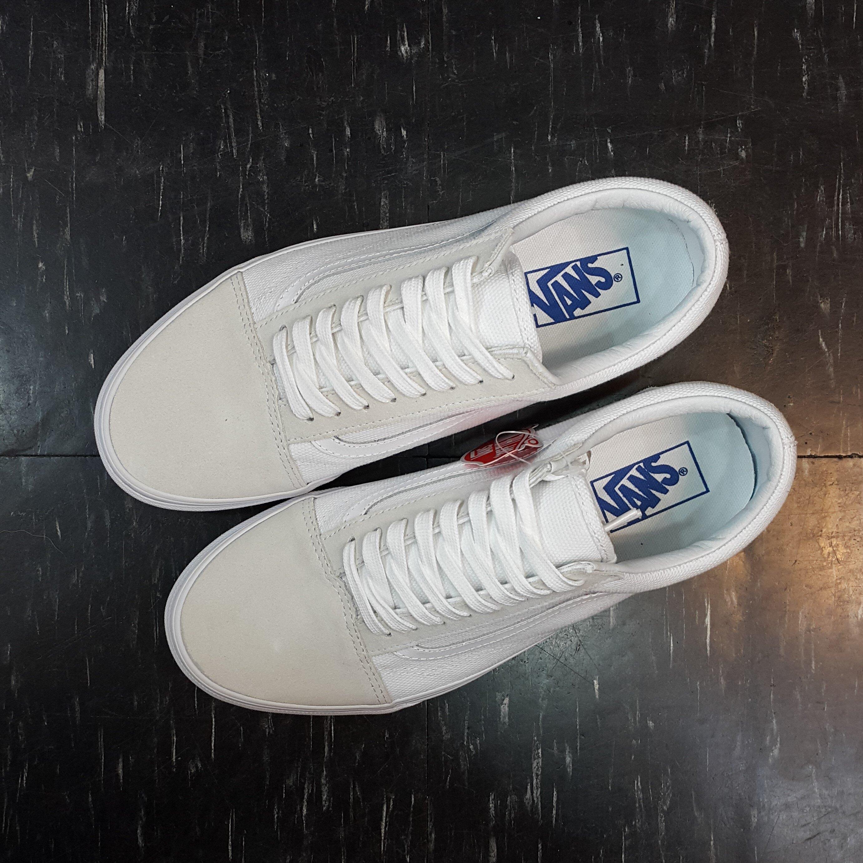 VANS Old Skool 白色 藍線 藍色 白藍 全白 帆布 麂皮 基本款 板鞋