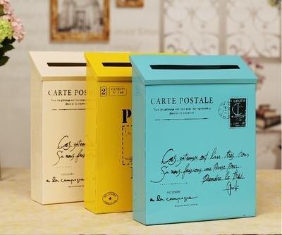信箱郵筒 zakka雜貨復古鐵皮郵箱信箱郵筒家居裝飾拍攝道具壁飾裝飾
