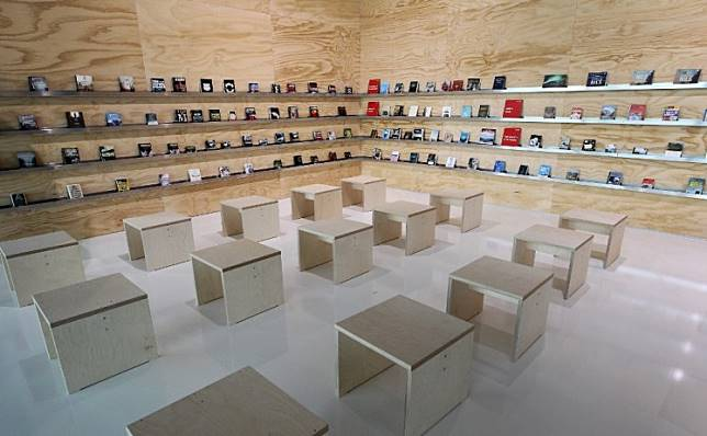 The exhibition of the guest of honor, Norway, is pictured a day prior to the opening of the Frankfurt book fair 2019 in Frankfurt am Main, Germany, on October 15, 2019.