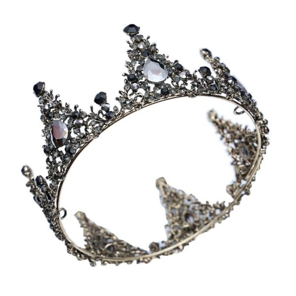 618年㊥大促 新娘頭飾大氣黑色圓冠水晶水鉆韓式結婚晚宴生日禮服發飾品皇冠