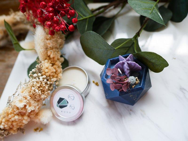 復古花盆蠟燭,香草味,薄荷由天然蠟製成用乾花裝飾