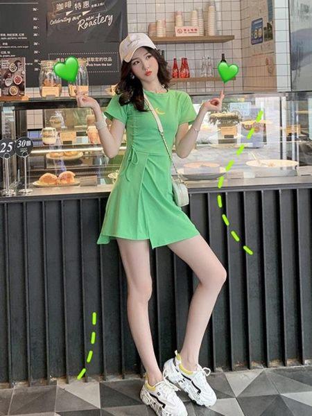 短袖洋裝減齡運動風抽繩綠色短袖T恤連衣裙夏季新款修身少女不規則裙 小天使