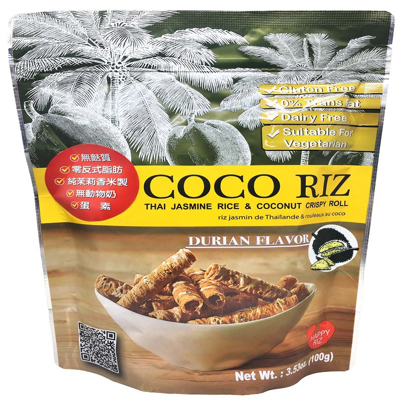 COCO RIZ 椰奶脆皮米捲(榴槤口味) 100g/包