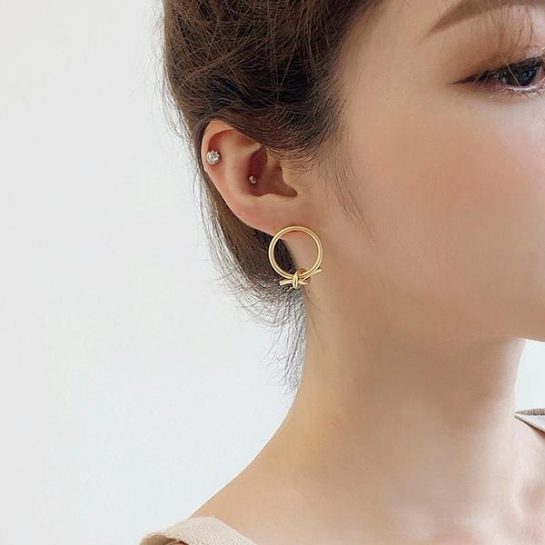 [SOOSOO官方旗艦店] 簡約打結造型圓耳環