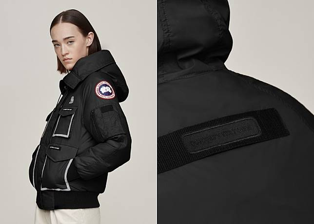左手手臂圓形品牌標誌對下有一個MA-1軍褸常見的口袋細節,背部加入繡上OCTOBER'S VERY OWN字樣織帶。(互聯網)