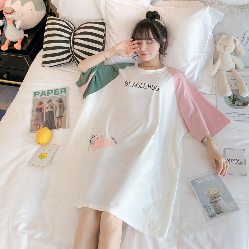睡裙女夏半袖寬鬆純棉大碼外穿拼色史努比全棉少女顯瘦原宿家居服