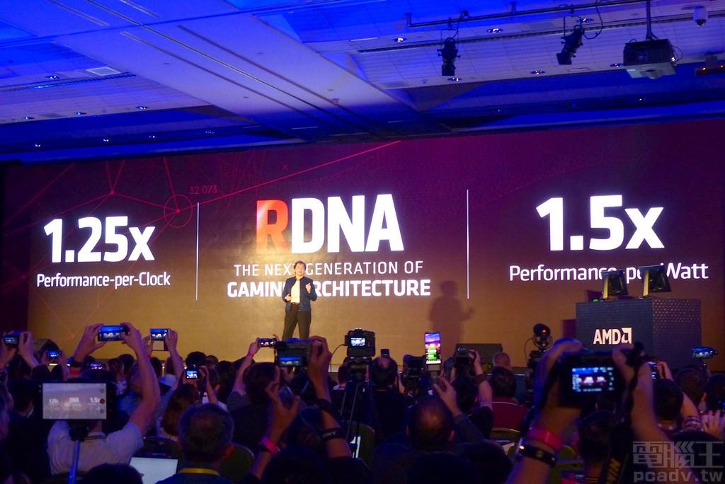 ▲ AMD 下一世代代號 Navi 的 Radeon RX 5000 系列顯示卡,將使用 RDNA 繪圖顯示架構,單位時脈效能上升為前一世代 1.25 倍、過去被人詬病的耗電狀況,更有 50% 提升幅度。