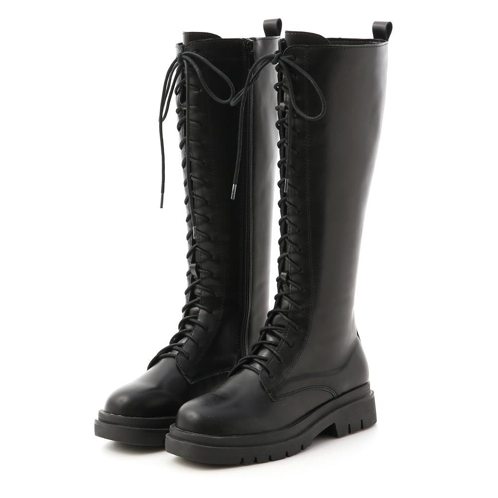 D+AF 勁酷時尚.鬆糕底綁帶馬汀長靴