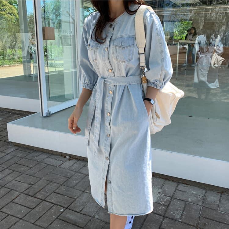 *正韓,韓貨,韓國追加*綁帶短袖牛仔洋裝#4-107