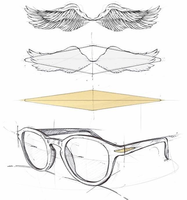 眼鏡線條取材自碧咸身上的Talisman翅膀紋身。(互聯網)