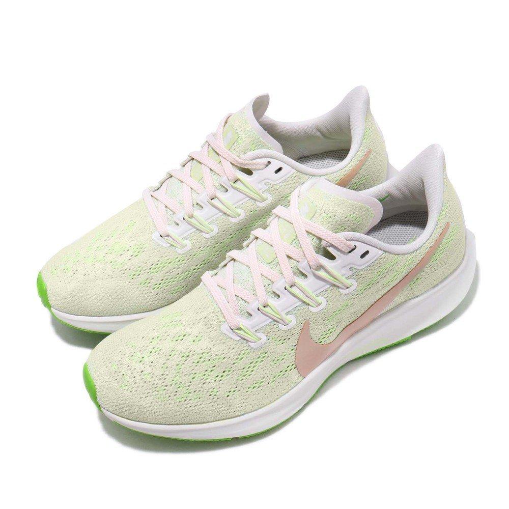 NIKE 慢跑鞋 Zoom Pegasus 36 運動 女鞋 氣墊 避震 路跑 經典款 舒適 球鞋 白 綠 [AQ2210-002]