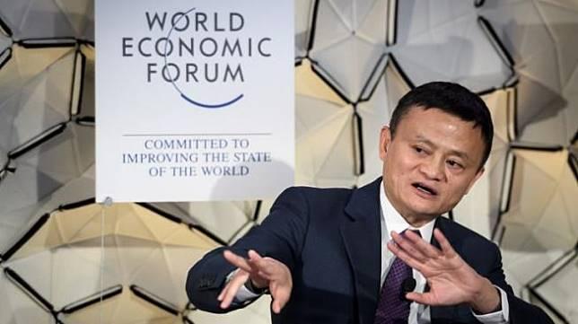 Pendiri dan pemimpin eksekutif Alibaba, Jack Ma berbicara di pertemuan tahunan World Economic Forum (WEF) pada 23 Januari 2019 di Davos, Swiss. [AFP/Fabrice Coffrini]