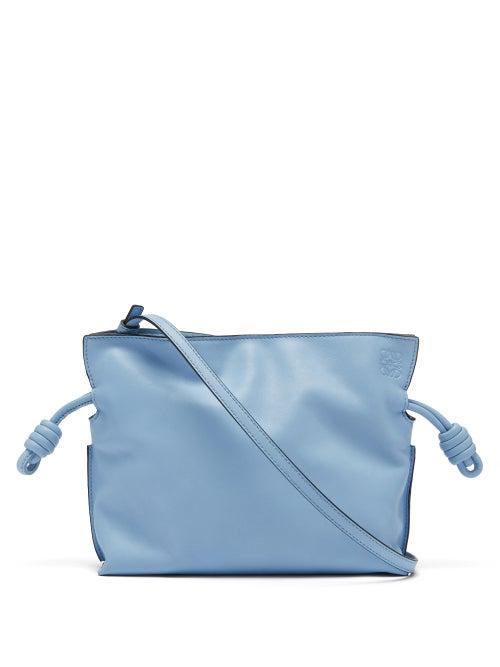 Loewe - Flamenco Mini Drawstring Leather Cross-body Bag - Womens - Light Blue