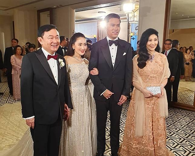 泰國前總理他信細女在港出嫁,其妹妹英祿亦有出席婚禮。網圖