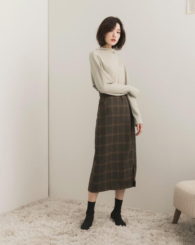 MEIERQ+格紋打褶設計感長裙