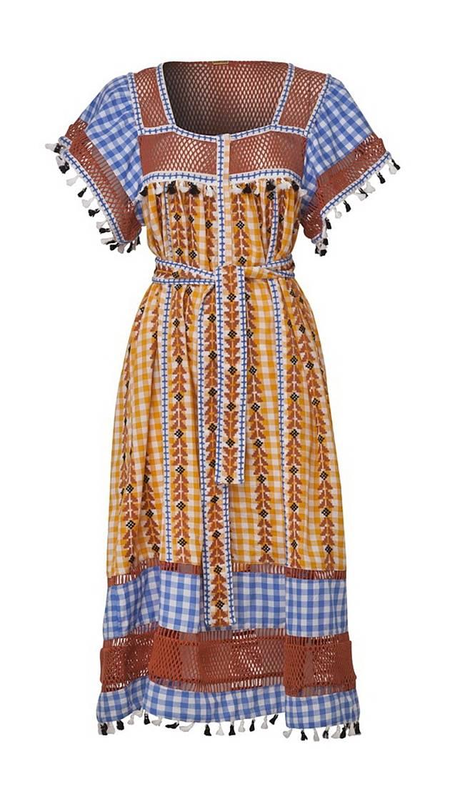 DODO BAR OR黃色拼粉藍色格仔刺繡連身裙(互聯網)