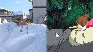 根本就是《龍貓》的真實版場景!日本神人分享自家堆的雪人被推爆,網友:真的神還原