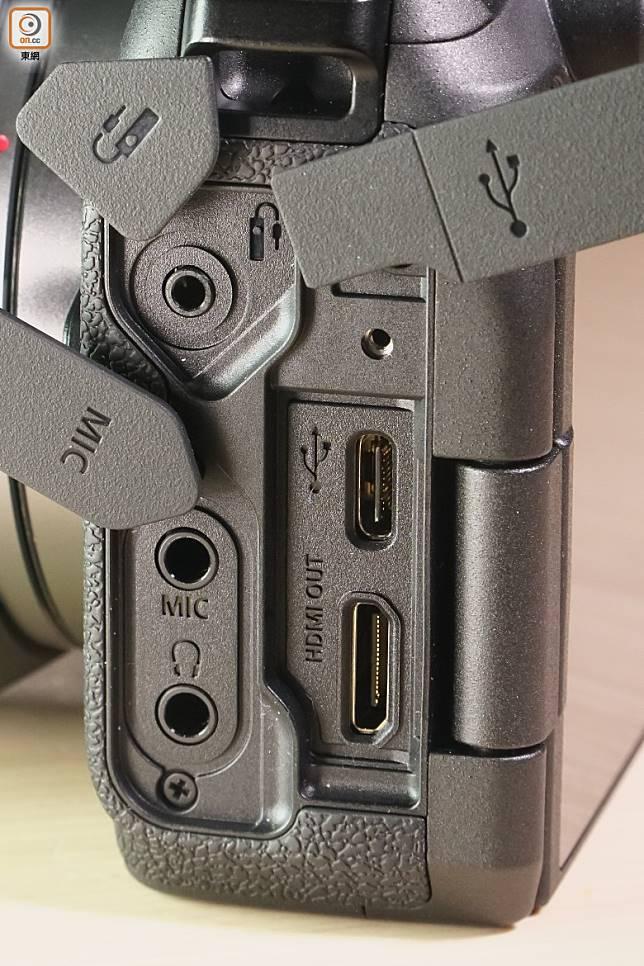 設有HDMI、USB、耳機、收音咪及快門線插口。(莫文俊攝)