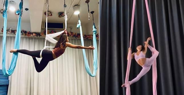 空中瑜伽(左)的吊布成U型,空中絲帶舞(右)則是兩條垂下的絹布。