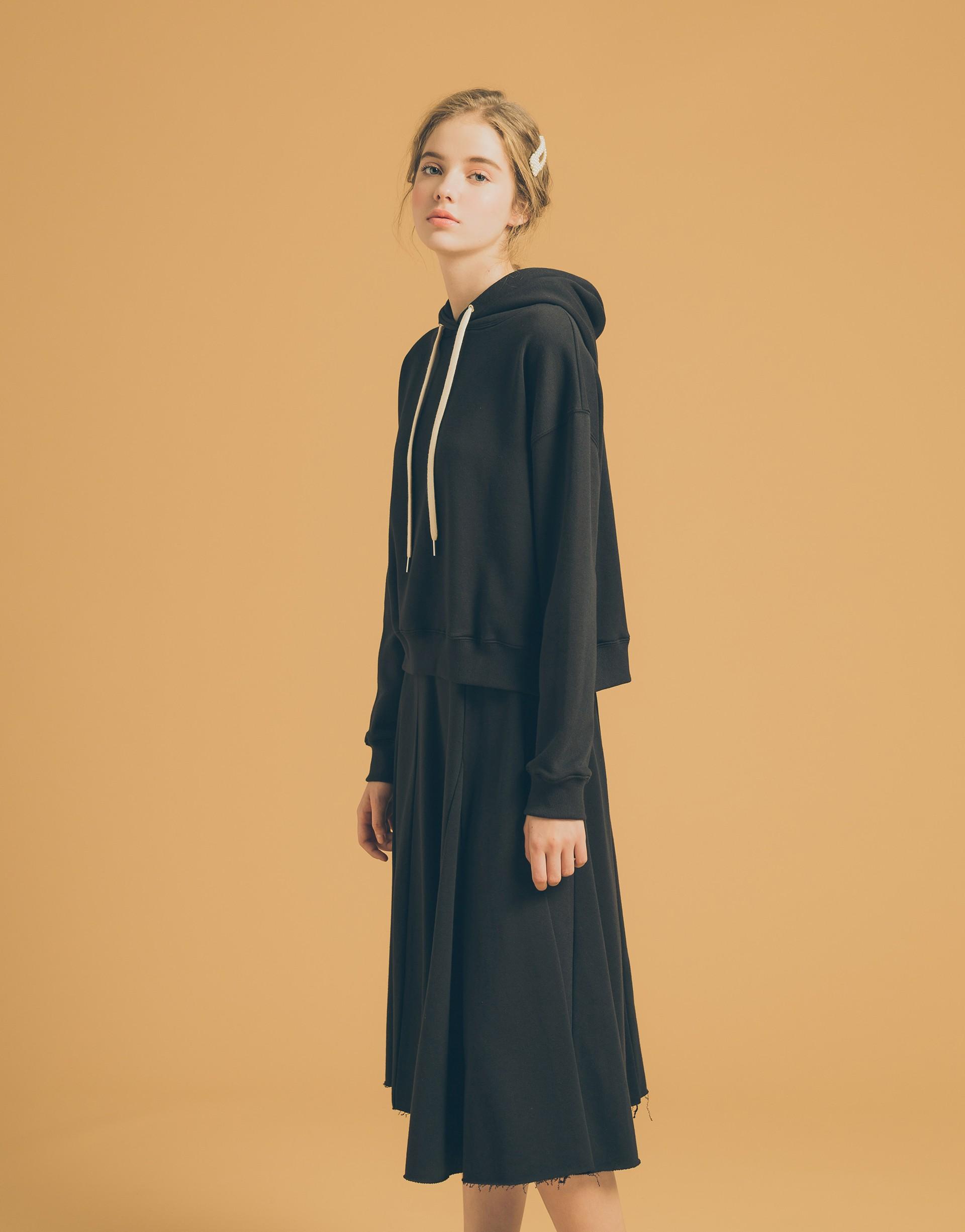 MIT製造/PAZZO自訂開發面料/上衣兩側開岔/裙擺不修邊設計/鬆緊腰頭
