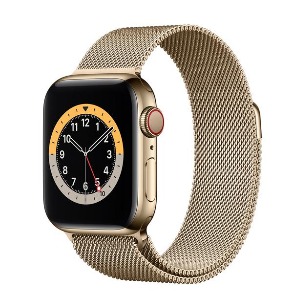 Apple Watch Series 6 (GPS + 行動網路);40 公釐金色不鏽鋼錶殼;金色米蘭式錶環 -