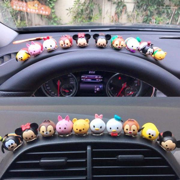 可愛迪士尼汽車擺件卡通米奇米妮唐老鴨維尼熊10只公仔車載裝飾品