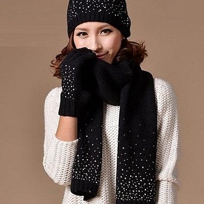 圍巾+毛帽+手套羊毛三件套-韓版時尚手工燙鑽寒配件組合4色[巴黎精品]