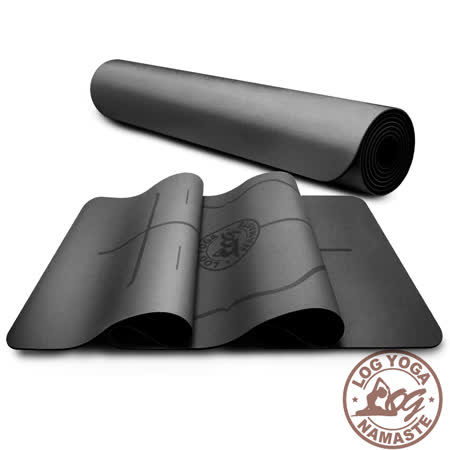 LOG YOGA 樂格 PU環保天然橡膠 專業款瑜珈墊 -黑色 (厚度5mm)