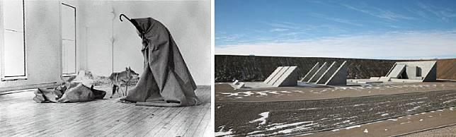 Rick Owens向Moncler所提議的公路之旅,其實是想仿效德國行為藝術家Joseph Beuys於1974年創作的藝術行為《I Like America and America Likes Me》,這位藝術家當時從德國飛到美國甘迺迪機場後便被毛氈包裹,以救護車送到紐約一家畫廊與一隻野狼相處三天,然後再次相同方式和路徑返回德國。(互聯網)