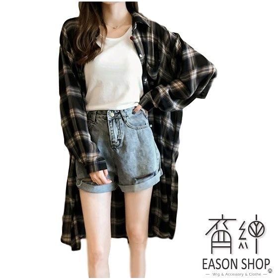 EASONSHOP經典格紋印花前排釦單口袋長袖襯衫外套防曬衫女上衣服寬鬆長版薄款OVERSIZE黑色