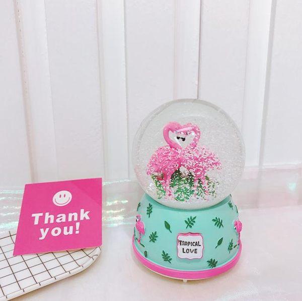音樂盒 少女心音樂盒可愛火烈鳥飄雪水晶球帶燈八音盒房間 ins風擺件禮物 汪喵百貨