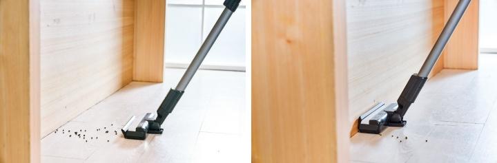 而壁咚吸頭另一項特點是採用可掀式前蓋構造,當吸頭碰到牆壁時,前蓋自動打開並 90 度貼合牆壁,把堆積在角落的毛髮灰塵完全吸盡,徹底清除邊角灰塵。