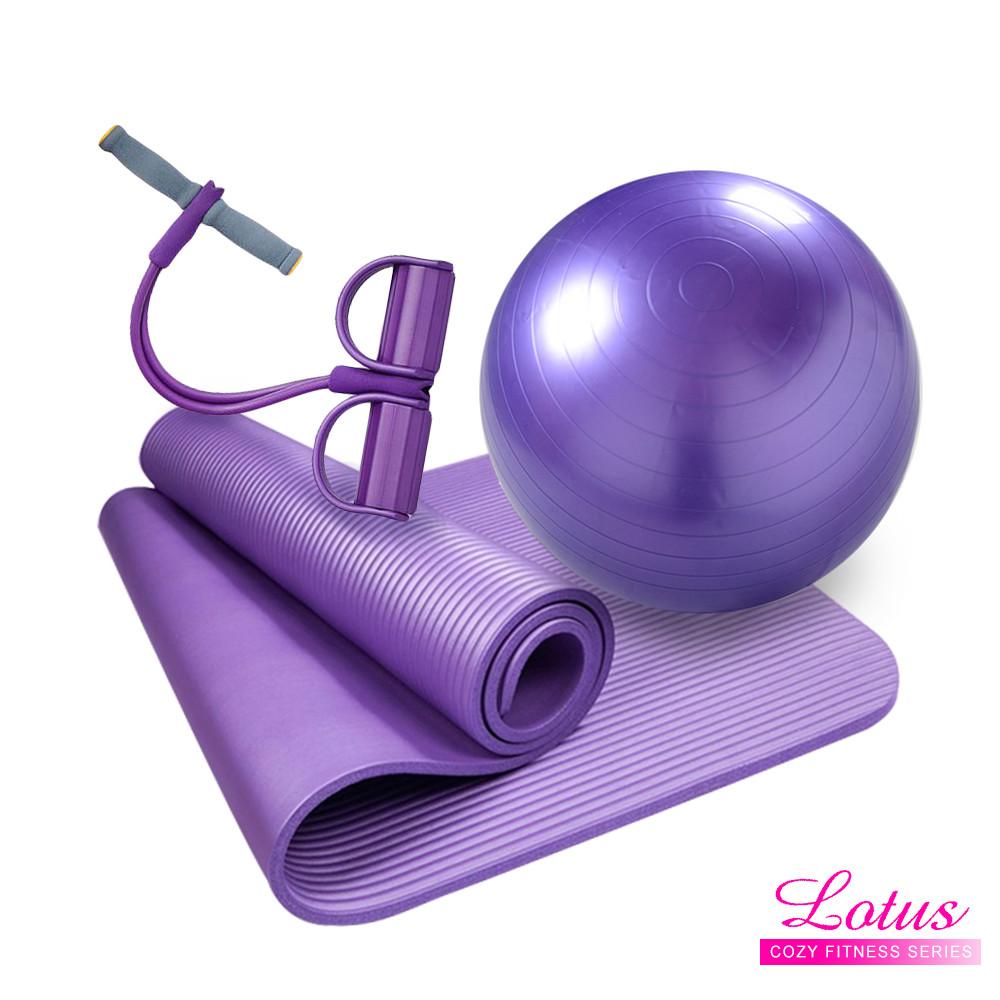 lotus瑜珈系列-超值三件組(纖腰彈力繩+瑜珈墊+瑜珈球)