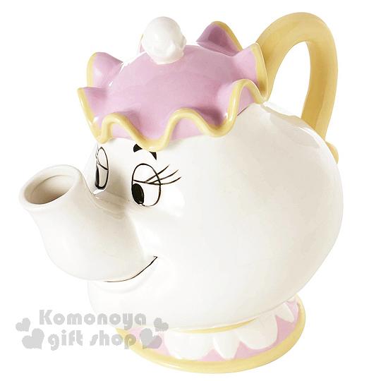 〔小禮堂〕迪士尼 美女與野獸 茶壺太太阿奇 陶瓷造型杯壺組《白紫黃.造型》電影聯名商品