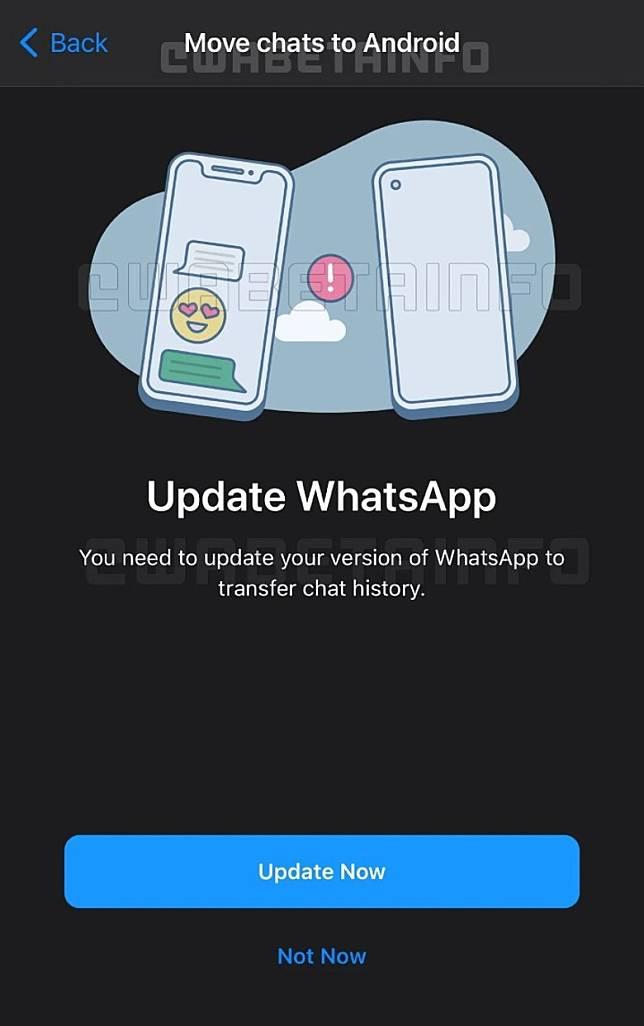 外國網站WABetaInfo率先披露新功能截圖,可見使用前需把Whatsapp更新至新版本。(互聯網)