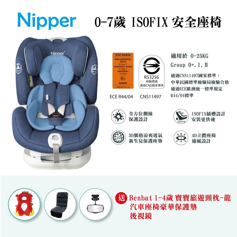 商品特色 首座0-7歲isofix系統 360度旋轉型座椅 頭枕可調 國家標準cns11497合格 歐洲ece r44/04認證 此商品為福利品 贈送 nipper豪華汽座防滑x1寶寶後視鏡x11~4