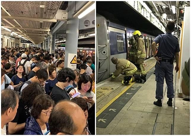大批乘客滯留羅湖站,消防員在上水站救援。(互聯網)