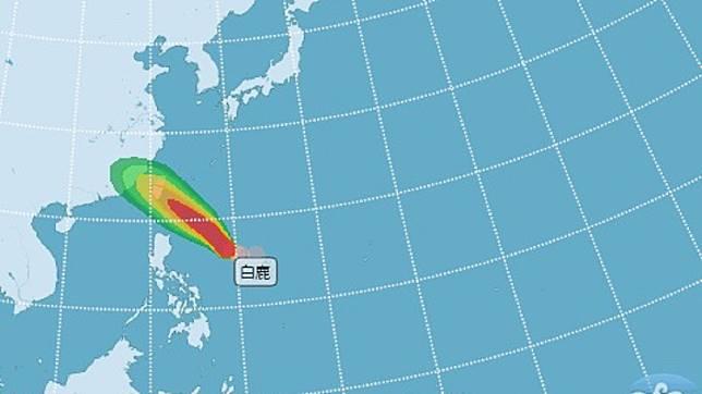 颱風「白鹿」逐漸靠近。圖/翻攝自氣象局