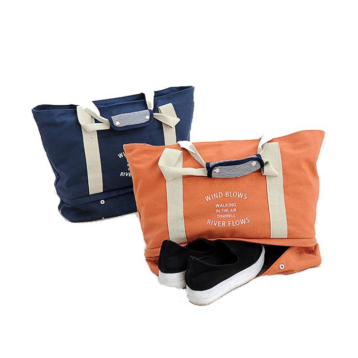 DF帆布款運動休閒專用收納包/可放鞋子/輕旅遊肩背式旅行包
