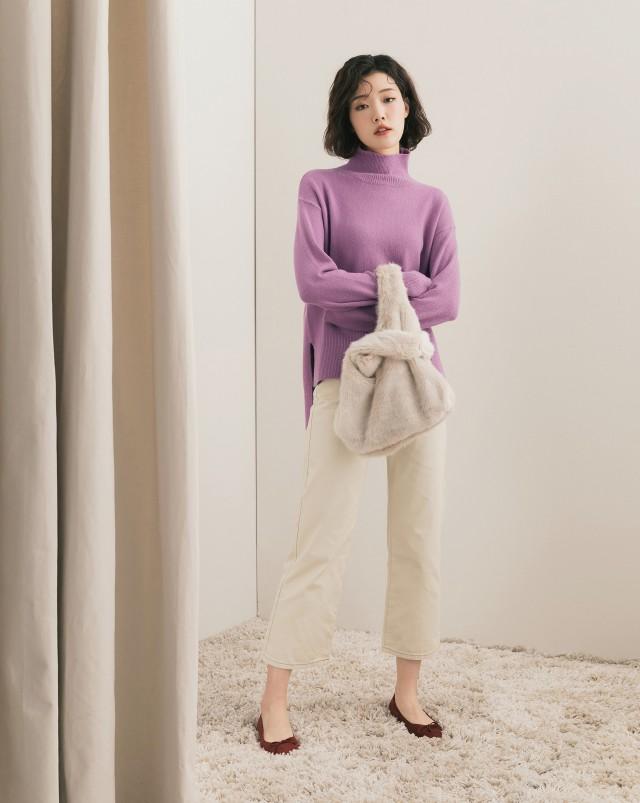 MEIERQ+高領接羅紋針織毛衣