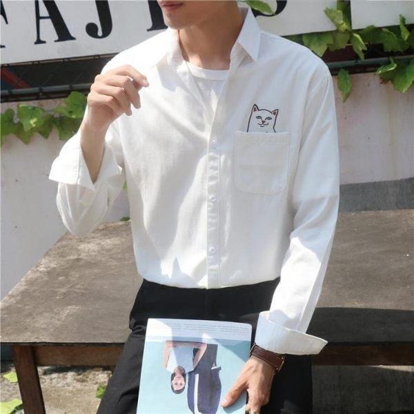 襯衫男長袖港仔文藝小清新寬鬆正韓潮流白色bf風襯衣 阿宅便利店