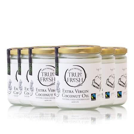 【TRUE FRESH】天然冷離心初榨椰子油4件組(443mlx6-公平貿易)