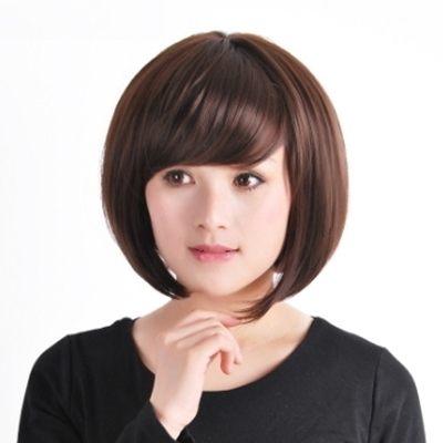 假髮真髮絲(短髮)-韓風流行可愛斜瀏海女假髮2色73em79【時尚巴黎】