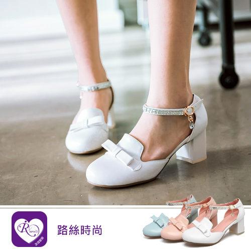韓系雜誌款水鑽一字扣雙層蝴蝶結包頭低跟涼鞋/3色/35-43碼 (RX0999-1099) iRurus 路絲時尚