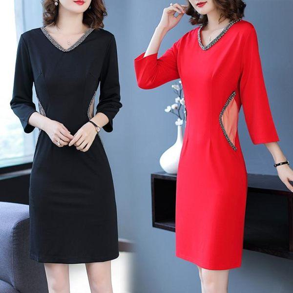 新款百搭氣質性感V領釘珠職業連衣裙ol洋裝打底裙