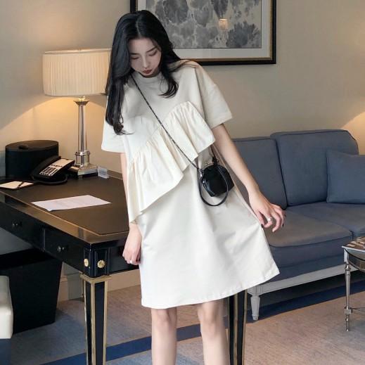 休閒氣質洋裝 短袖 時尚 素色 洋裝 連身裙 連身洋裝 閨蜜裝 韓版法式復古裙短袖寬松中長款連衣裙仙女超仙甜美裙子潮