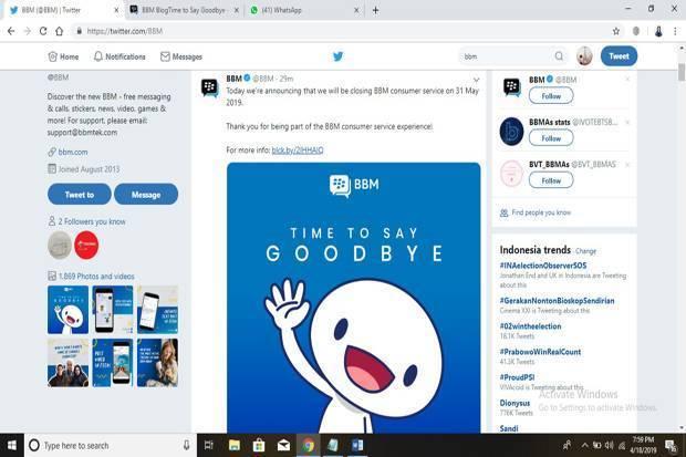 BBM ucapkan selamat tinggal di laman akun Twitter-nya karena merasa sudah tak sanggup hadapi persaingan di industri perpesanan instan. Foto/Ist
