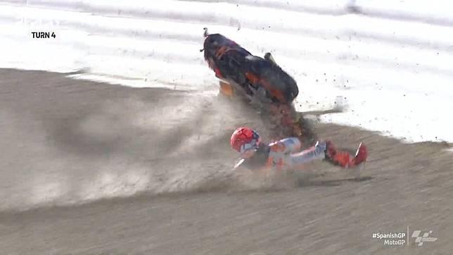 Kronologi Kecelakaan Marc Marquez di Sesi Pemanasan MotoGP Spanyol 2021